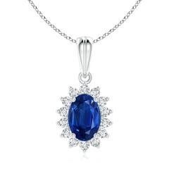 Floral Diamond Halo Oval Blue Sapphire Pendant Necklace