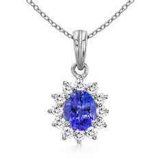 Oval Tanzanite Pendant with Floral Diamond Halo