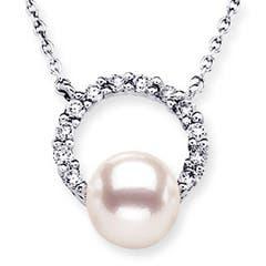 Akoya Cultured Pearl Circle Pendant with Diamonds