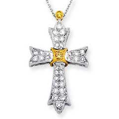 Victorian-Style Diamond Maltese Cross Pendant in Two Tone Gold