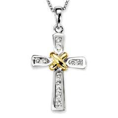 Classic Two Tone Gold Round Diamond Cross Pendant