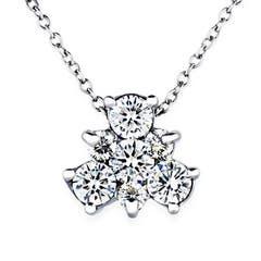 Teddy Bear Shaped Round Diamond Cluster Pendant Necklace