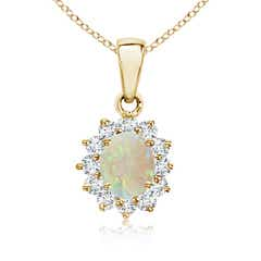 14k Yellow Gold Oval Opal and Diamond Halo Pendant