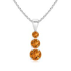 Graduated Round Citrine Three Stone Pendant