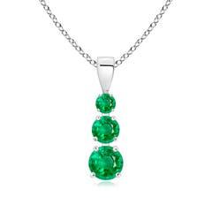 Graduated Round Emerald Three Stone Pendant
