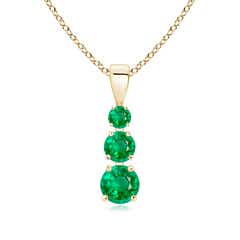 Graduated Round Emerald Three Stone Pendant