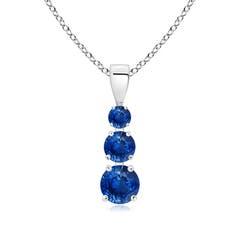 Graduated Round Blue Sapphire Three Stone Pendant