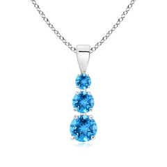 Graduated Round Swiss Blue Topaz Three Stone Pendant