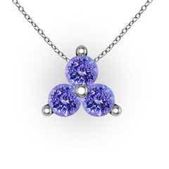 Round Tanzanite Three Stone Pendant in 14k White Gold