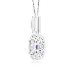 Toggle Vintage Style Oval Amethyst Pendant with Diamond Halo