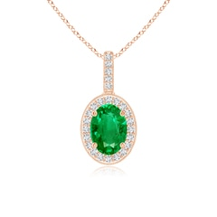 Vintage Style Oval Emerald Pendant with Diamond Halo