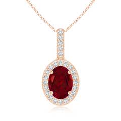 Vintage Oval Garnet Pendant Necklace with Diamond Halo