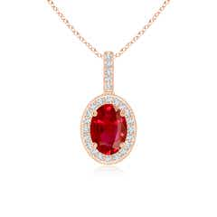 Vintage Style Oval Ruby Pendant with Diamond Halo
