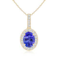 Vintage Style Oval Tanzanite Pendant with Diamond Halo