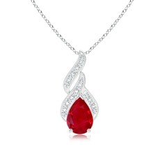 Solitaire Pear-Shaped Ruby Flame Pendant