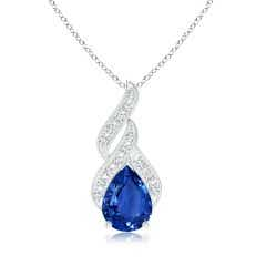 GIA Certified Sapphire Teardrop Flame Pendant with Diamonds