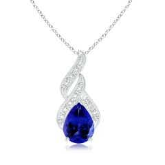 GIA Certified Tanzanite Teardrop Flame Pendant with Diamonds