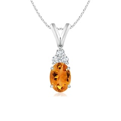 Oval Citrine Solitaire Pendant with Trio Diamond V-Bail