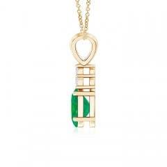 Toggle Oval Emerald Solitaire Pendant with Trio Diamond