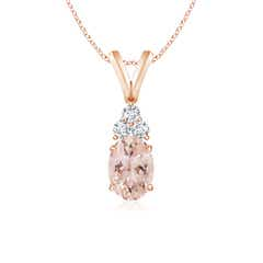 Oval Morganite Solitaire Pendant with Trio Diamond