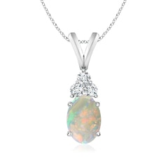 Oval Opal Solitaire Pendant with Trio Diamond