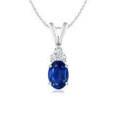 Oval Sapphire Solitaire Pendant with Trio Diamond V-Bail
