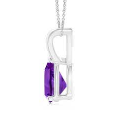 Toggle V-Bale Pear-Shaped Amethyst Solitaire Pendant