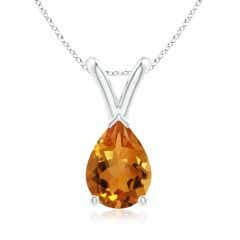 V-Bale Pear Shaped Citrine Solitaire Pendant