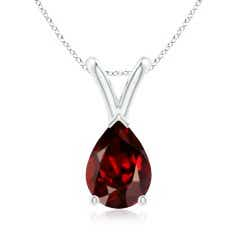 V-Bale Pear Shaped Garnet Solitaire Pendant