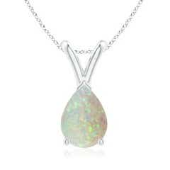 V-Bale Pear-Shaped Opal Solitaire Pendant