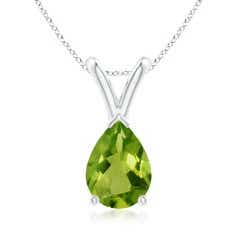 V-Bale Pear-Shaped Peridot Solitaire Pendant
