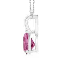 Toggle V-Bale Pear-Shaped Pink Tourmaline Solitaire Pendant
