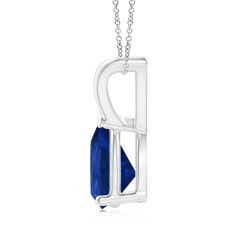 Toggle V-Bale Pear-Shaped Blue Sapphire Solitaire Pendant