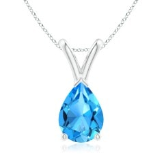Angara Oval Natural Swiss Blue Topaz V-Bale Pendant in Rose Gold wrljTfYo