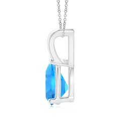 Toggle V-Bale Pear-Shaped Swiss Blue Topaz Solitaire Pendant
