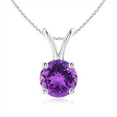 V-Bale Round Amethyst Solitaire Pendant