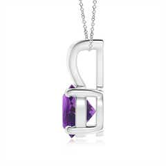 Toggle V-Bale Round Amethyst Solitaire Pendant
