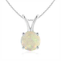 V-Bale Round Opal Solitaire Pendant