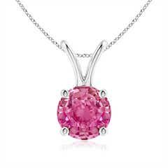V-Bale Round Pink Sapphire Solitaire Pendant