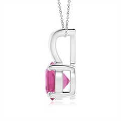 Toggle V-Bale Round Pink Tourmaline Solitaire Pendant