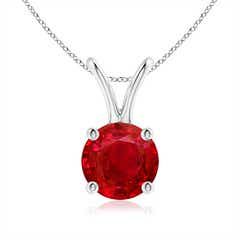 V-Bale Round Ruby Solitaire Pendant