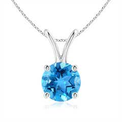 V-Bale Round Swiss Blue Topaz Solitaire Pendant