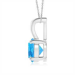 Toggle V-Bale Round Swiss Blue Topaz Solitaire Pendant