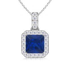 Square Sapphire and Diamond Halo Pendant