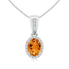 Angara Oval Citrine and Diamond Halo Pendant with Infinity Bale dgGmTc2M