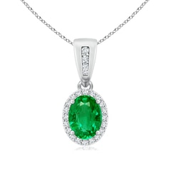 Vintage Style Oval Emerald Halo Pendant