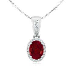 Diamond Halo Antique Oval Garnet Pendant Necklace