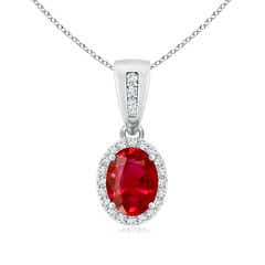Vintage Style Oval Ruby Halo Pendant