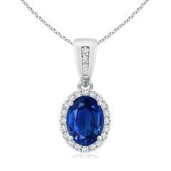 Diamond Halo Antique Oval Sapphire Pendant Necklace