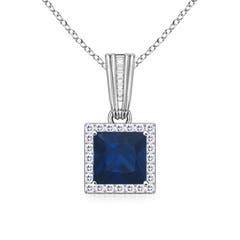 Vintage-Inspired Square Sapphire and Diamond Halo Pendant